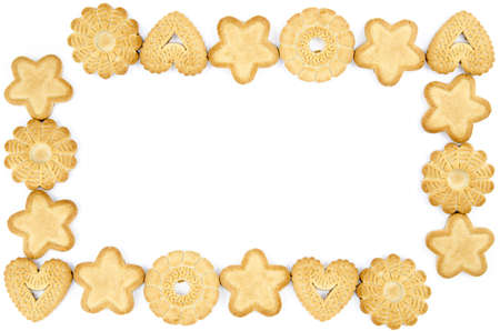 twice: Bakery - Frame made of biscuits - Isolated on white - Abstract background Stock Photo