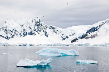 calving: Antarctica Mountains Covered With Snow And Floating Icebergs In A Cloudy Day