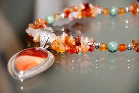 jewellery: Jewelry - Necklace And Pendant Of Silver And Gemstones