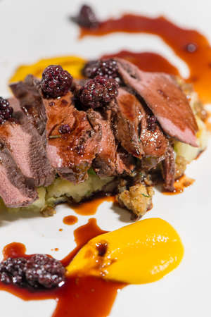 jus: Fine Dining - Meats - Roasted Saddle Of Wild Boar With Potatoes And Blackberry Jus Stock Photo