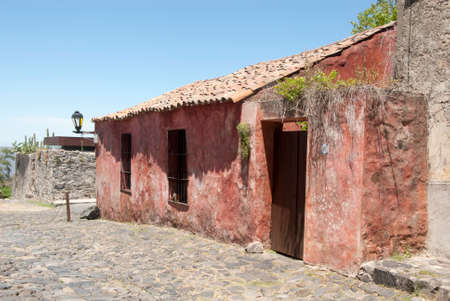 colonia del sacramento: Colorful Buildings In The Historic District - Calle De Los Suspiros - Colonia Del Sacramento - Uruguay Stock Photo