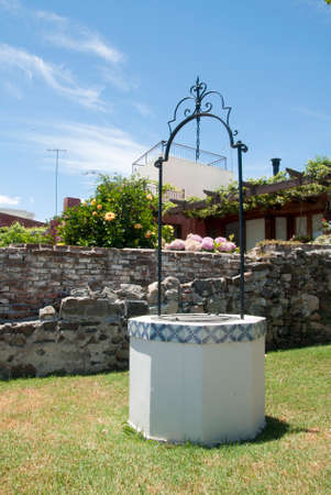 draw well: Uruguay - Colonia Del Sacramento - Water Well With Traditional Portuguese Ceramic Decorations