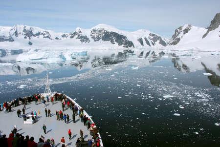 Travel in Antarctica - Coastline of Antarctica With Ice Formations - Antarctic Peninsula - Palmer Archipelago - Neumayer Channel - Global Warming - Cruise ship MS Zaandam - Holland America Line - 30.12.2013 Stock Photo