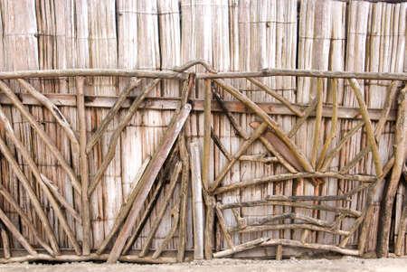 man made: Bamboo Wall - Ecological Man Made Structure - Traditional House - Manta Ecuador Stock Photo