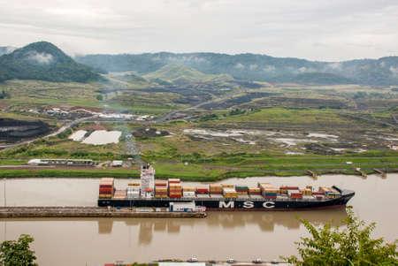 MSC Geneva Cargo Ship - Mediterranean Shipping Company Cargo Ship in Panama Canal - September 29, 2013