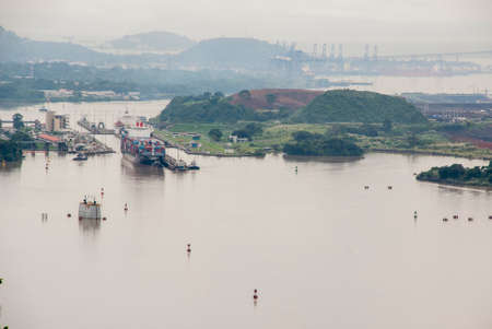 miraflores: Panama Canal - Pedro Miguel Lock - View from top of the hill - Ancon