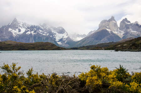 South America - Patagonia - Torres del Paine National Park in a cloudy day - Beautiful natural landscape - Travel Destination - Landmark