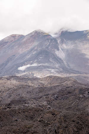 Etna crater and volcanic landscape - Mount Etna, Sicily, Italy - May 25th 2017 Stock Photo