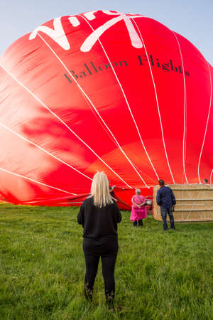 The Virgin hot air balloon prepares for take off in High Wycombe in South East England - May 31, 2017 Editorial