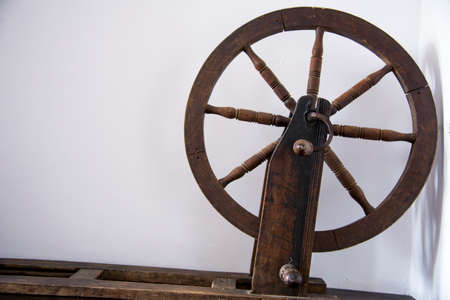 Vintage romanian spinning wheel for spinning thread or yarn from natural or synthetic fibres