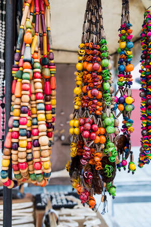 Typical Cuban souvenir: seed jewelry. Popular in Cuban accounts, organic jewelry made from Caribbean seeds. Imagens