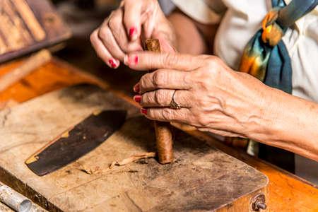 Close-Up photo of a woman preparing a cuban cigar in Casa de la Cultura, Trinidad, Sancti Spritus Province, Cuba, West Antilles, Central America. Photo taken on 3rd of November, 2019