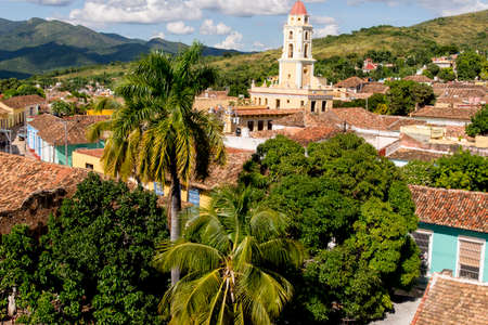 Old Colonial Village of Trinidad, Cuba. Trinidad is a town in central Cuba, known for its colonial old town and cobblestone streets. Photo taken on 3rd of November 2019 스톡 콘텐츠
