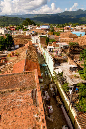 Old Colonial Village of Trinidad, Cuba. Trinidad is a town in central Cuba, known for its colonial old town and cobblestone streets. Photo taken on 3rd of November 2019 Banco de Imagens