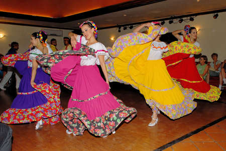 Mexican folk dance, dancers from Loreto, Baja California Sur - Mexico. Posada de las Flores, Loreto, Mexico, 01 April 2010