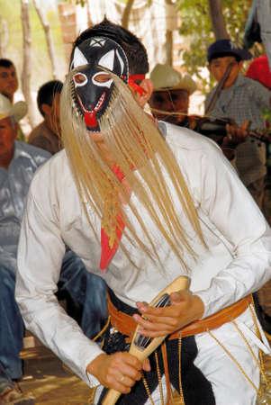 Aztec folk dance, dancers from Loreto, Baja California Sur - Mexico. Posada de las Flores, Loreto, Mexico, 01 April 2010 Editorial