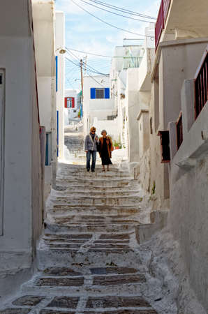 Walking in old traditional Mykonos Town, Chora, Mykonos Island, Greece - 26th of June 2011
