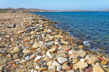 Stony beach in Delos island - Cyclades Aegean sea - Greece - Europe Standard-Bild