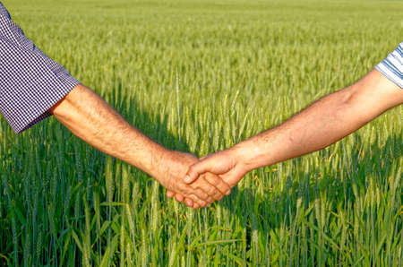 Two farmers shake hands against the background of a wheat field - Conclusion of a contract - Done Deal