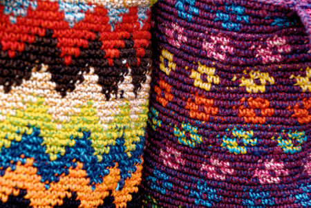 Colorful woven bags for sale in artisan market Antigua - Guatemala