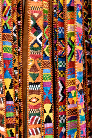 Hand loomed cotton BELTS in traditional pattern for sale in the Street Market - Antigua - Guatemala