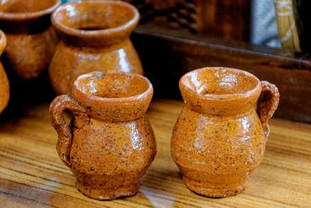 Typical guatemalan handmade pottery mugs souvenirs. Antigua - Guatemala. 24th of March 2011 Foto de archivo