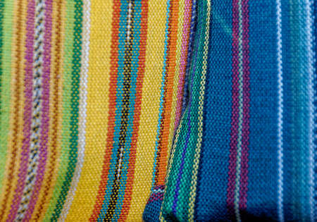 Traditional handwoven Guatemalan textiles made & sold by local Mayans at markets in Antigua - Guatemala Foto de archivo