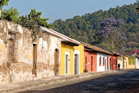 Morning street scene in the scenic central city - Antigua Guatemala, Sacatepequez, Guatemala, Central America - 24th of March 2011 Editorial