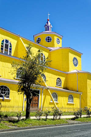Exterior facade of famous wooden catholic Castro's San Francisco Cathedral (Iglesia San Francisco de Castro) - Castro city, Chiloe Island, Chile. 11th of January 2014