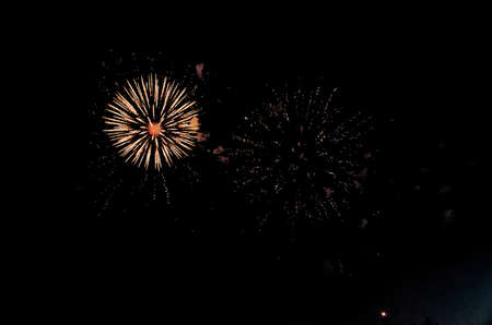 A Fireworks display at night. A fireworks event and celebrations