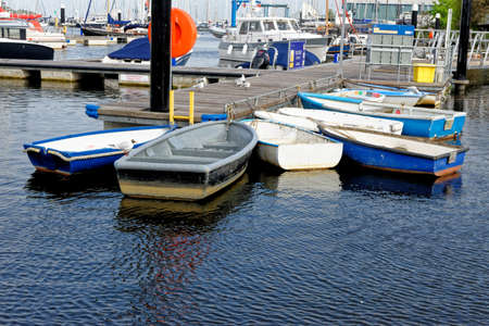 Boats in Lymington Harbour Hampshire, England, United Kingdom. Lymington marina and ferry terminal in Hampshire UK - 20th of May 2021 Foto de archivo