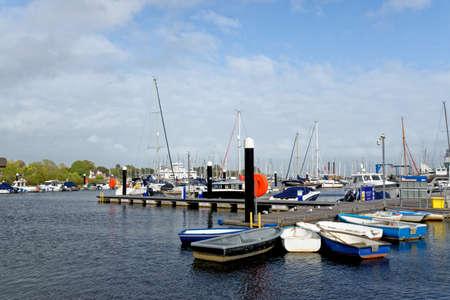 The Quay, Lymington Town, Hampshire, England, United Kingdom. Lymington marina and ferry terminal in Hampshire UK - 20th of May 2021