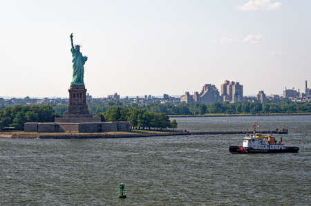 View of Statue of Liberty at New York City over Hudson River - USA - 5th of April 2011 Editorial