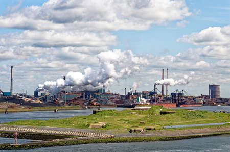 Tata steel factory in Ijmuiden harbor, The Netherlands - 4th of March 2012