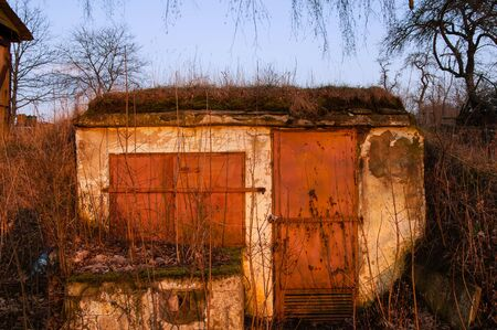 demarcation: Outside detailed view of loophole of old  bunker