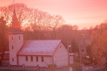 11th century: church at sunset