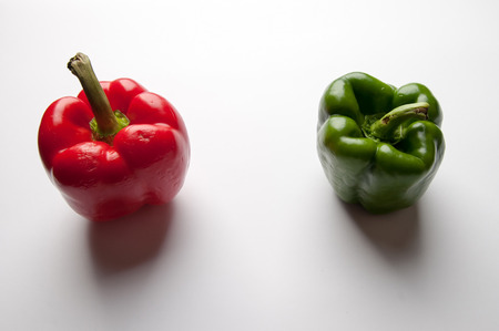 transgenic: Green and reed pepper with syringe. GMO