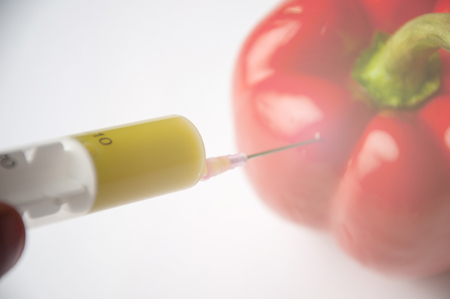 chemical fertilizer: Chemical fertilizer for growing vegetables and . Bulgarian red pepper in syringes with different colored chemicals.