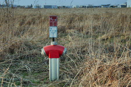 hydrant plug: the image of red hydrant Stock Photo