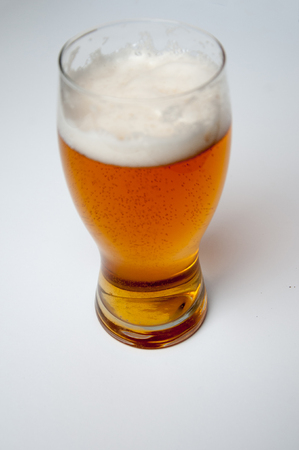Gllass of light beer isolated on a white background Stock Photo
