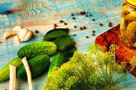 gherkins: The concept of pickled cucumbers, gherkins with spices.