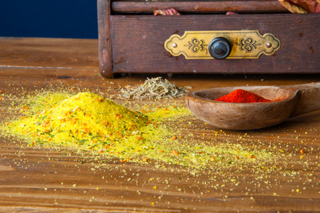 peppercorn: Spices lying on a small cabinet. Stock Photo