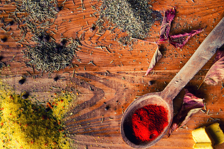 Spices on a wooden background. Stock Photo