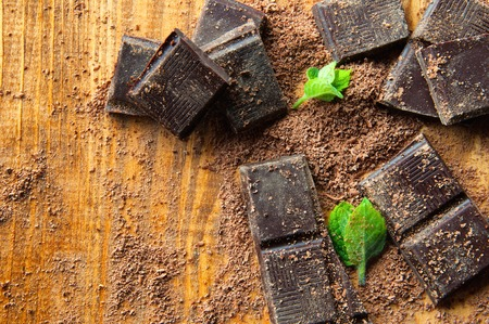 Chopped chocolate with cocoa.