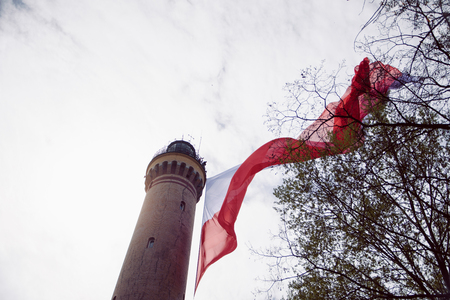 The largest Polish flag at the Swinoujscie lighthouse. independence Day.