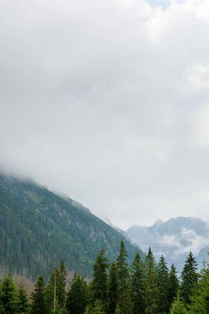 Tatra-Gebirge bedeckt mit Wolken und dichtem Nebel