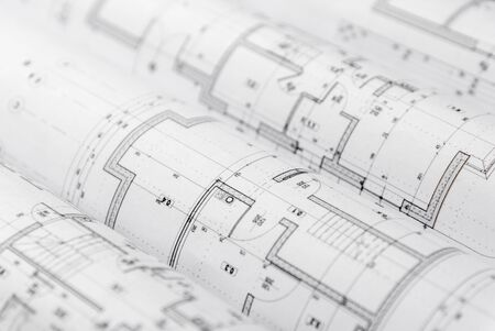 Architect rolls and architectural plan,technical project drawing. Stockfoto
