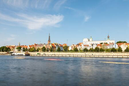 The Odra River in the city of Szczecin. Floating kayaks.