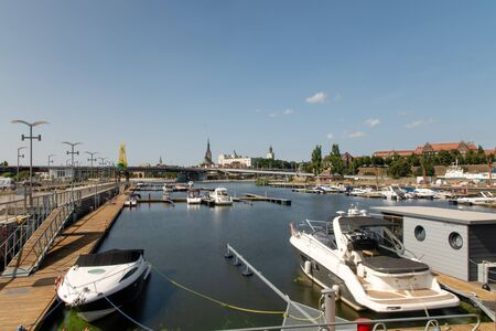 The Odra River in Szczecin and ships. Stock fotó