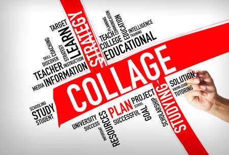 Education concept - hand writing Collage Word Cloud concept